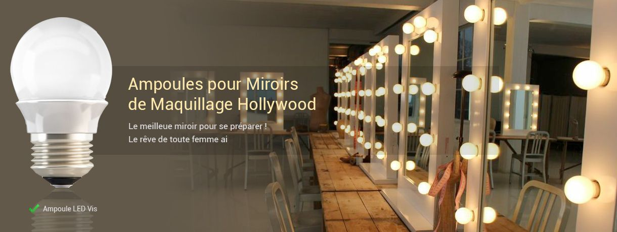 Ampoules miroir hollywood for Miroir hollywood