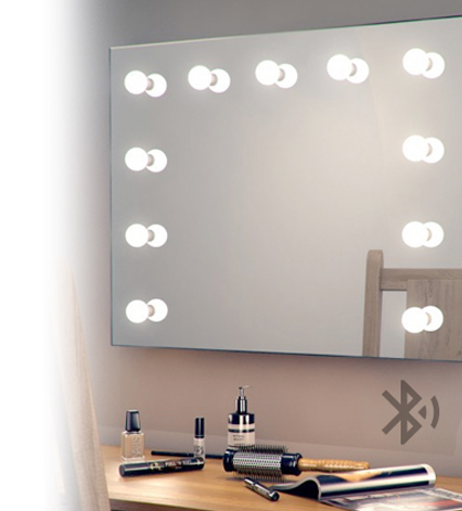 miroir fin slimline clairage led piles avec interrupteurs tirette. Black Bedroom Furniture Sets. Home Design Ideas